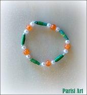 Bracciale elastico fatto a mano con misto perle