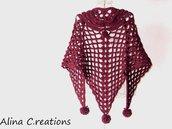 """Scialle crochet """"Unico"""" in lana bordò, scialle traforato,moda inverno donna,fatto a mano,spedizione gratuita"""