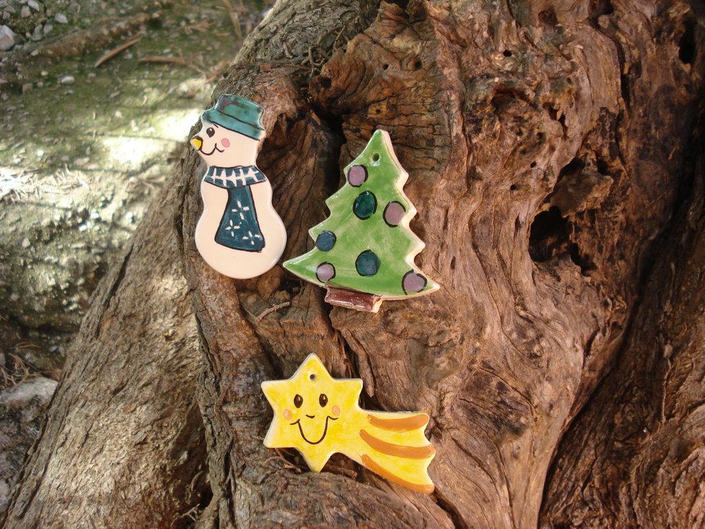 pupazzo di neve, stella,albero di natale