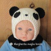 Berretto panda in pura lana merino superwash fatto a mano taglia 3 - 6 mesi