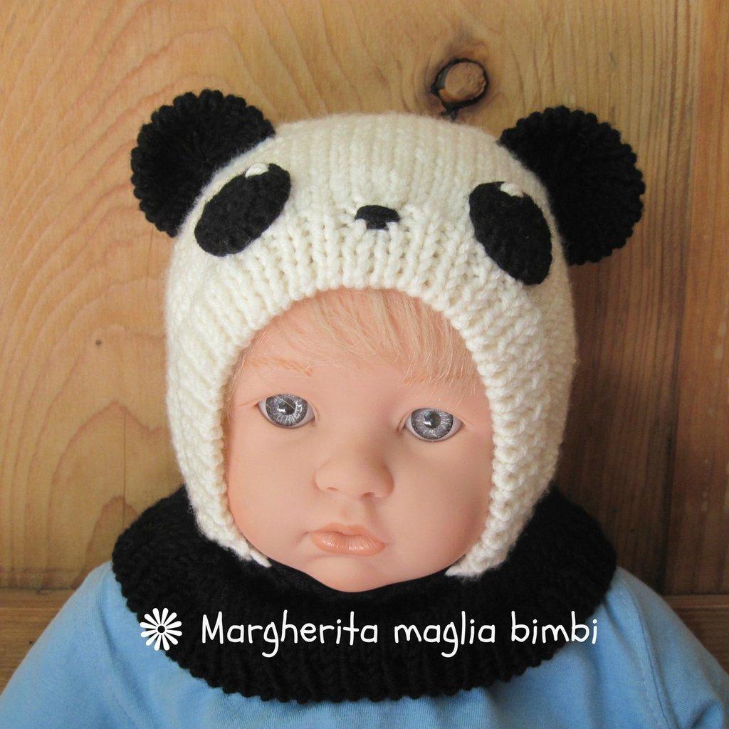 Berretto panda in pura lana merino superwash fatto a mano taglia 6 mesi