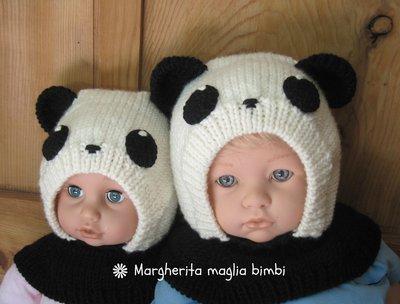 Berretto panda in pura lana merino superwash fatto a mano taglia 2 - 3 anni