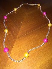 Collana di perline rocailles e perle gialle e rosa