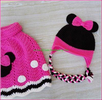 Poncho A Uncinetto E Cappellino Per Bambina O Bebé Ispirato A Minni