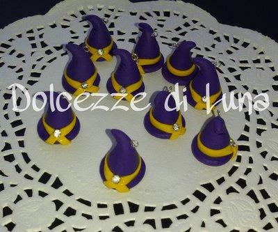 1 ciondolo cappello da strega con strass fatto a mano, misura circa 2 cm