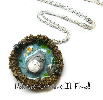 Collana Totoro - Con laghetto, nerini del buoio, erba  e carpa koi