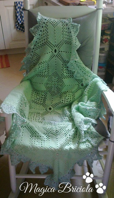 copertina verde e azzurro melange in lana baby