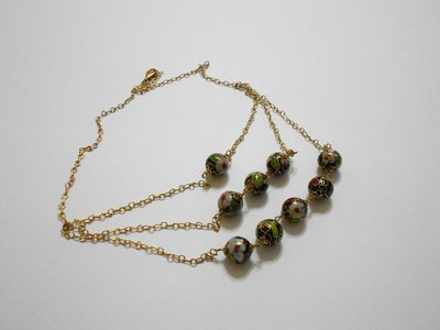 Collana in ceramica cinese e argento dorato