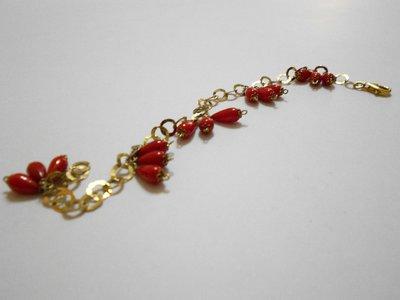 Bracciale corallo rosso e argento dorato