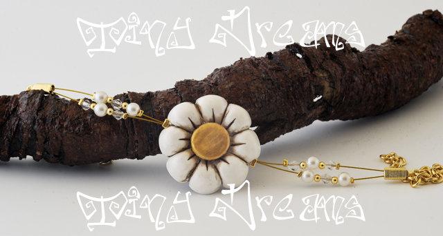 Bracciale/bracelet -Flower Bianco/Oro - T03