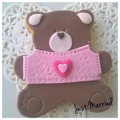 biscotti decorati, orsetto, nascita, battesimo, rosa