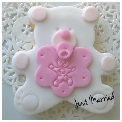 biscotti decorati, orsetto bianco, nascita,battesimo, rosa