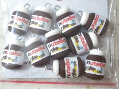 Lotto 10 ciondoli in fimo barattolo nutella charms handmade