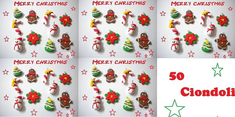 lotto 50 ciondoli in fimo Natale come da foto handmade charms