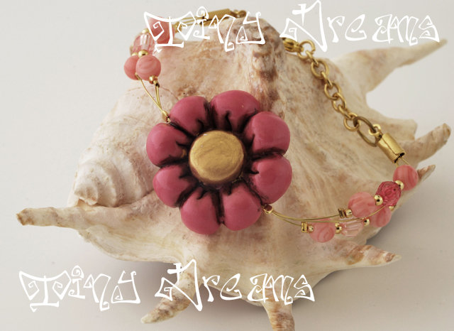 Bracciale/bracelet -Flower Rosa Antico/Oro - T03