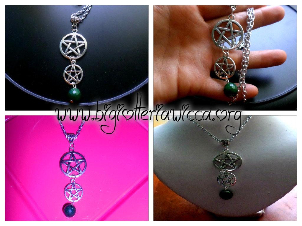 collana wicca,con stella pentacolo e pietra giada