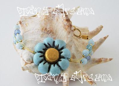 Bracciale/bracelet -Flower Azzurro/Oro - T03
