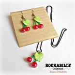 Parure stile rockabilly collana e orecchini con perline - Ciliegie