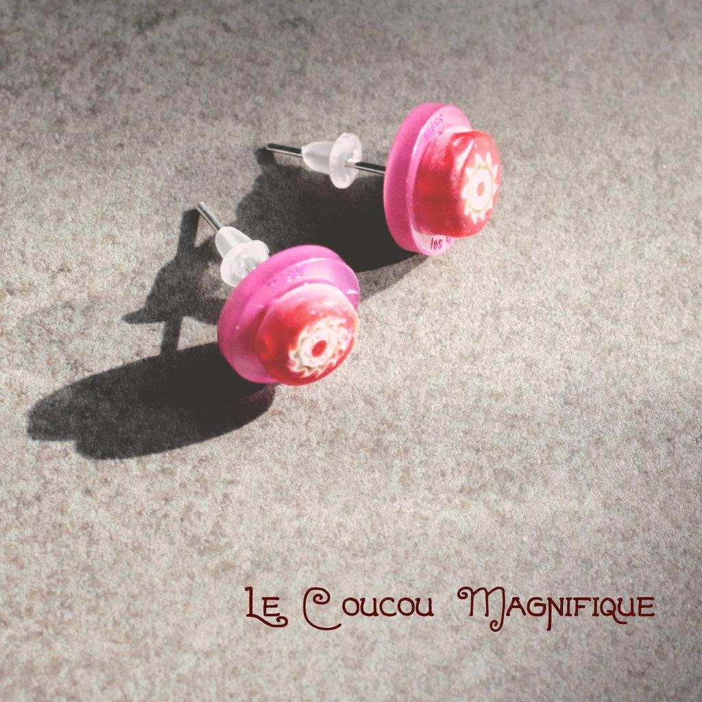 Orecchini rosa e rossi, a lobo con bottoni e murrine - O.21.2015