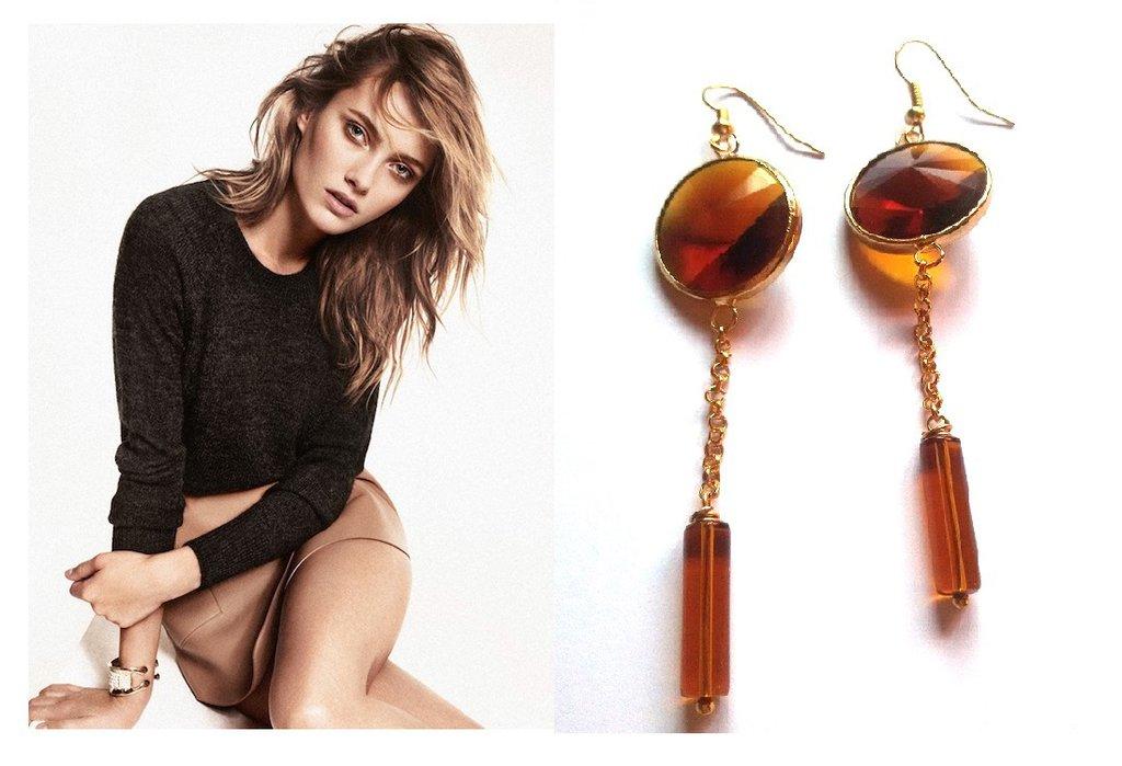 """Orecchini """"Candy crystal"""" cristallo marrone e catena dorata"""