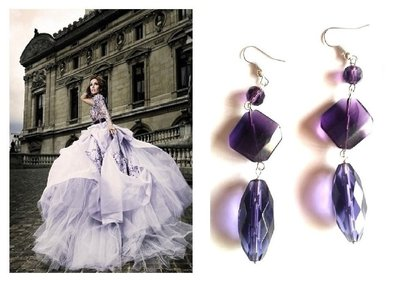 """Orecchini """"Violet glass"""" lunghi con vetro color viola"""