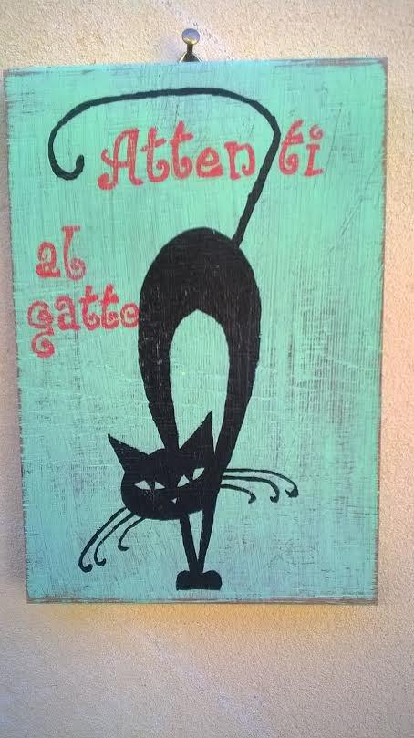 """Targa """"Attenti al gatto"""""""