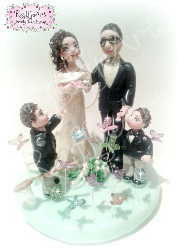 "Cake topper matrimonio/anniversario ""The Wings of Love"" (personalizzabile)"