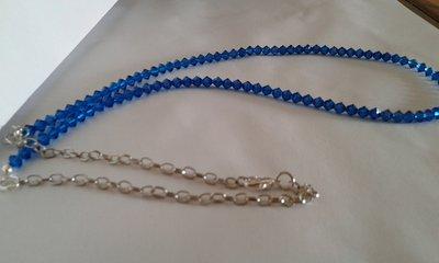 Collana donna di cristalli swarovski austraici biconi blu