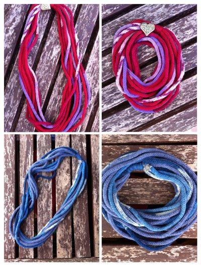 Collana scaldacollo in lana sfumata lavorata a tricotin