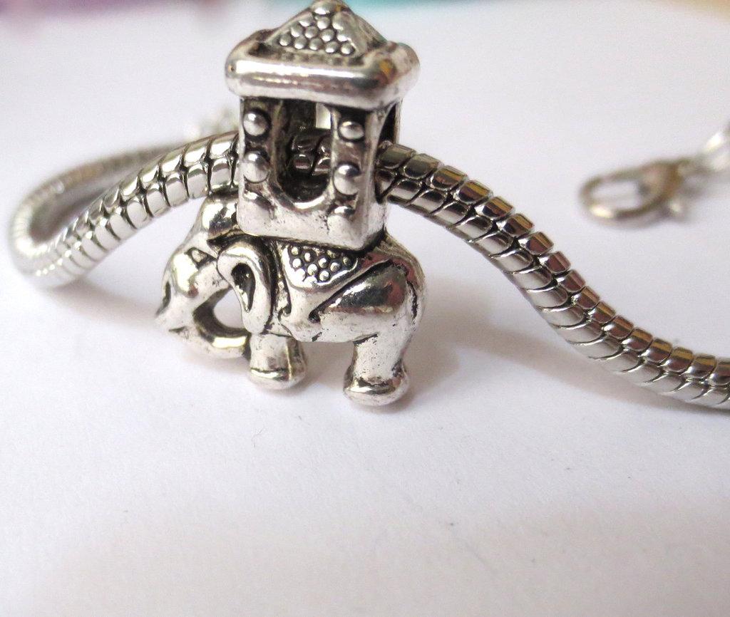 """Perla a foro largo """"Elefante asiatico"""" (20x5mm) (cod.01650)"""