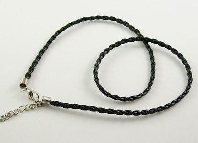 collana in simil pelle intrecciata colore nero 5 pz