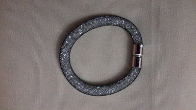 Btacciale rete tubolare simil swarovski argento