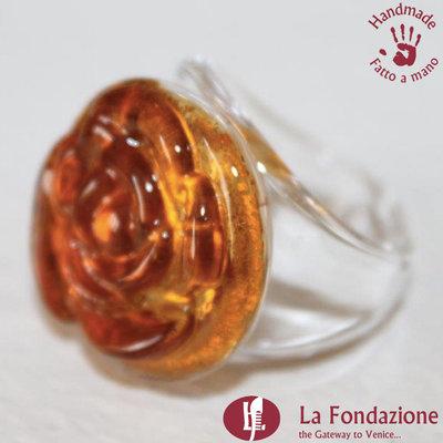 Anello Rosa color Arancio in vetro di Murano lavorato a mano
