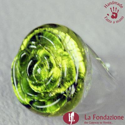 Anello Rosa color Lime in vetro di Murano lavorato a mano