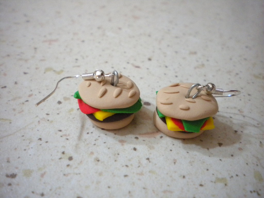 orecchini fimo con ciondoli cheeseburger earrings handmade