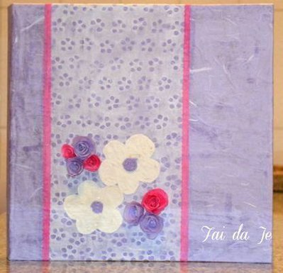Album foto artigianale viola con fiori