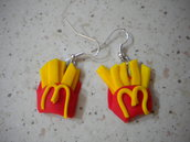 Orecchini fimo patatine fritte earrings handmade