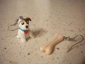 Orecchini fimo con ciondoli cane con osso earrings handmade