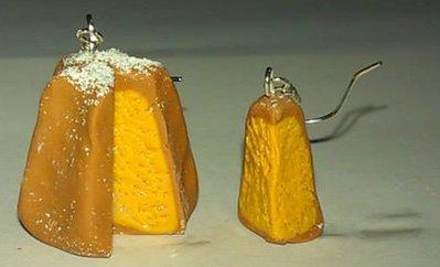 Orecchini con ciondoli fimo Pandoro natale con fetta earringe handmade