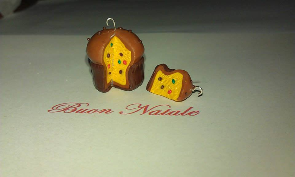 Orecchini fimo con ciondolo panettone farcito con fetta earrings handmade