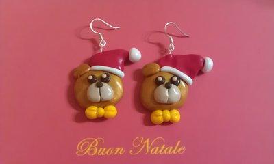 orecchini fimo orso con cappello natale earrings handmade