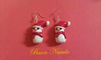 Orecchini fino pupazzo di neve earrings handmade