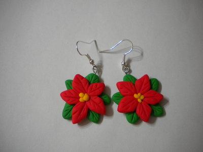 Orecchini fimo stella di natale earrings handmade