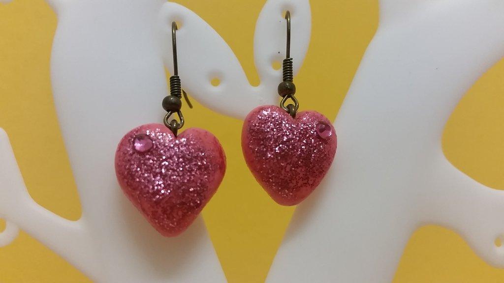 Orecchini fimo cuore rosa