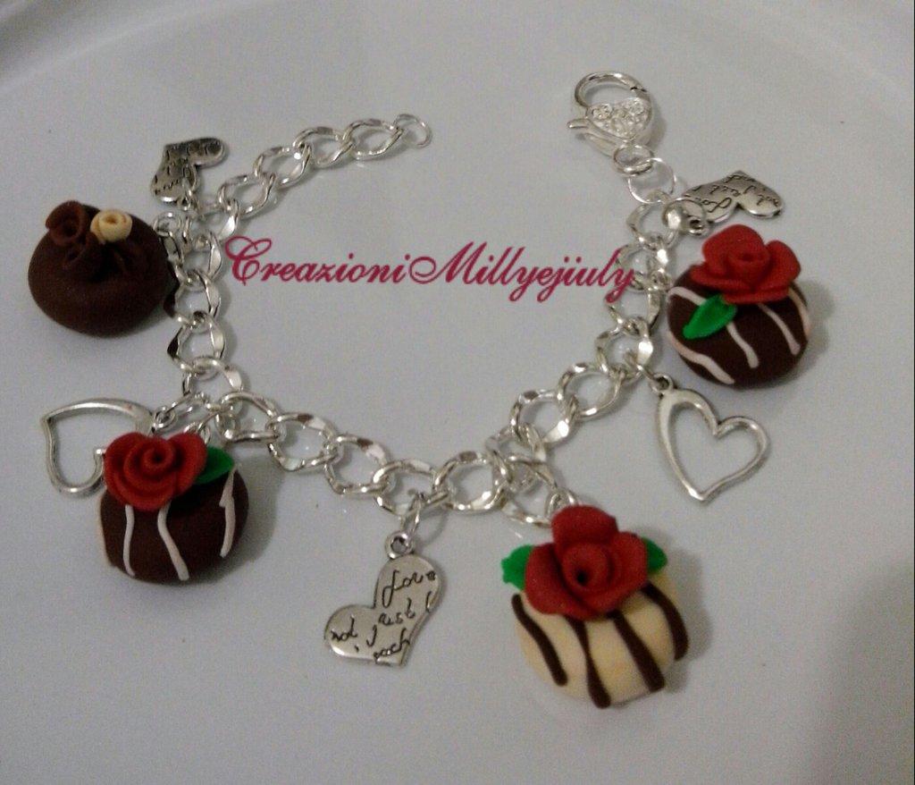 Bracciale romantico bigiotteria catena a maglie  color argento