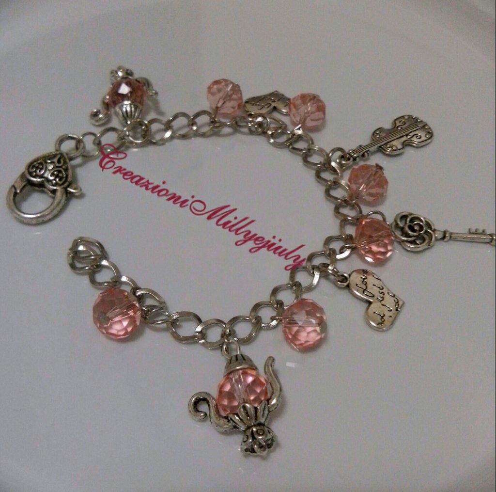 Bracciale bigiotteria catena con maglie color argento e pietre in mezzo cristallo in rosa