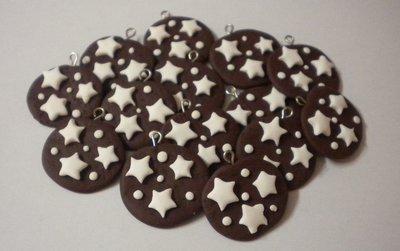 Lotto 20ciondoli in fimo biscotti Pan di Stelle handmade charms