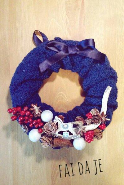 Ghirlanda natalizia lana blu