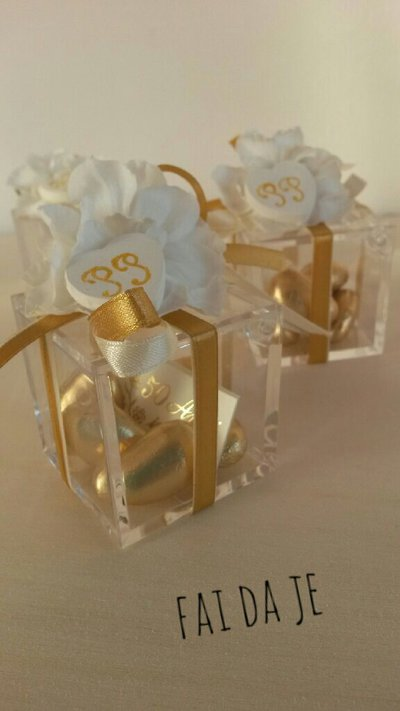 Bomboniera oro 50 anni matrimonio