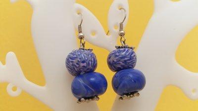 Orecchini perle in fimo toni blu